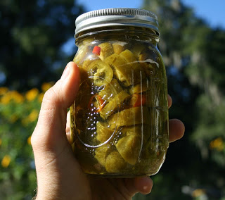 homegrown pickled jalepeno slices