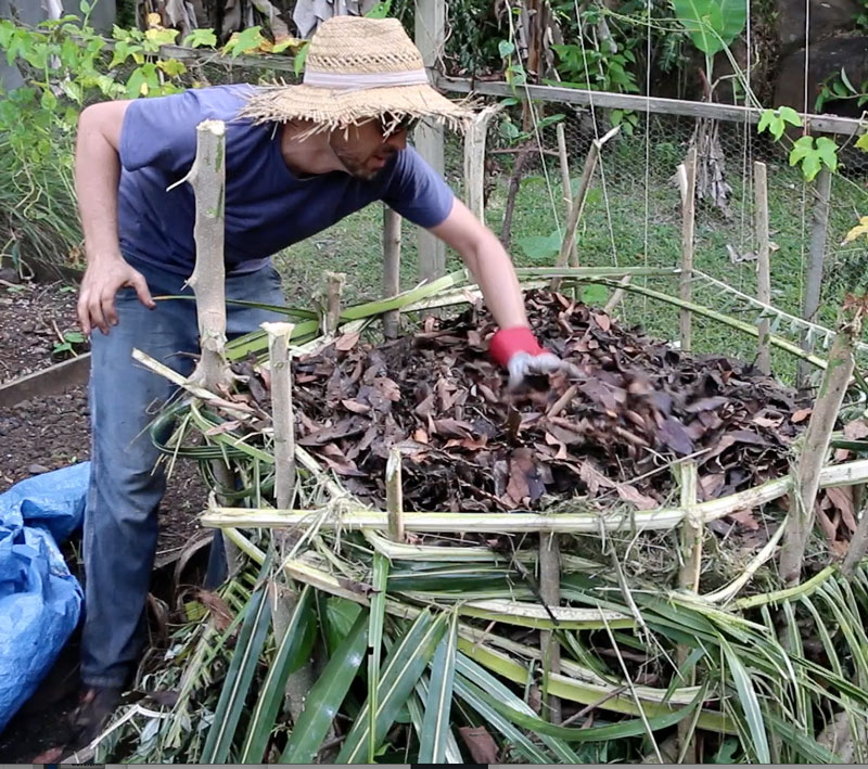 Simple_compost_pile_adding_brown_layer_to_compost