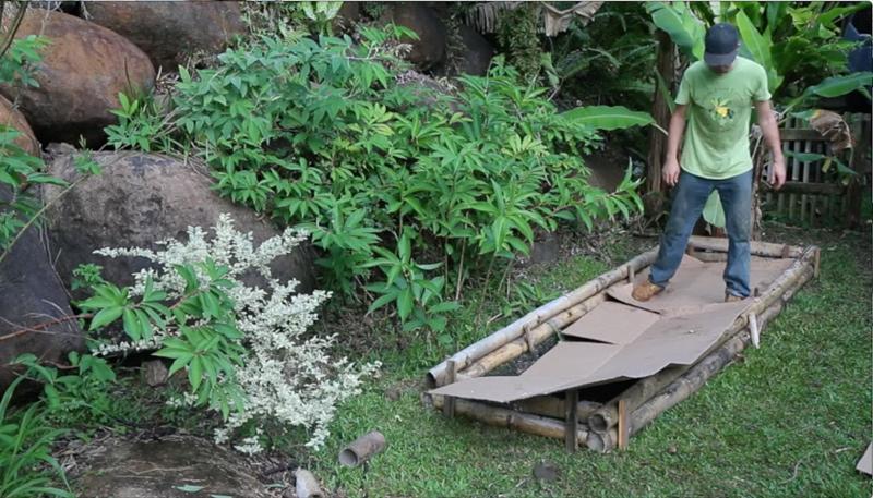 lasagna-gardening-stomping-down-cardboard