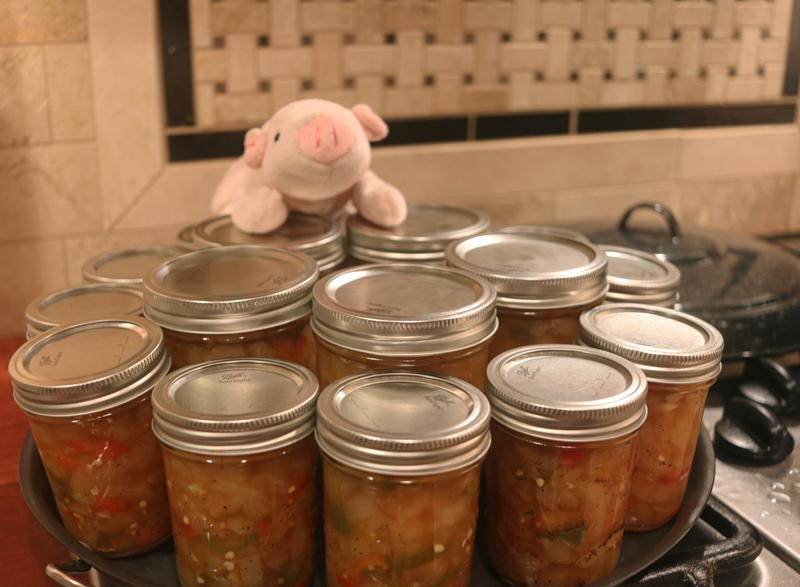 finished jars of pear salsa - pear salsa recipe